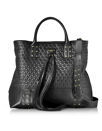 Domaine Black Quilted Leather Men's Tote Bag