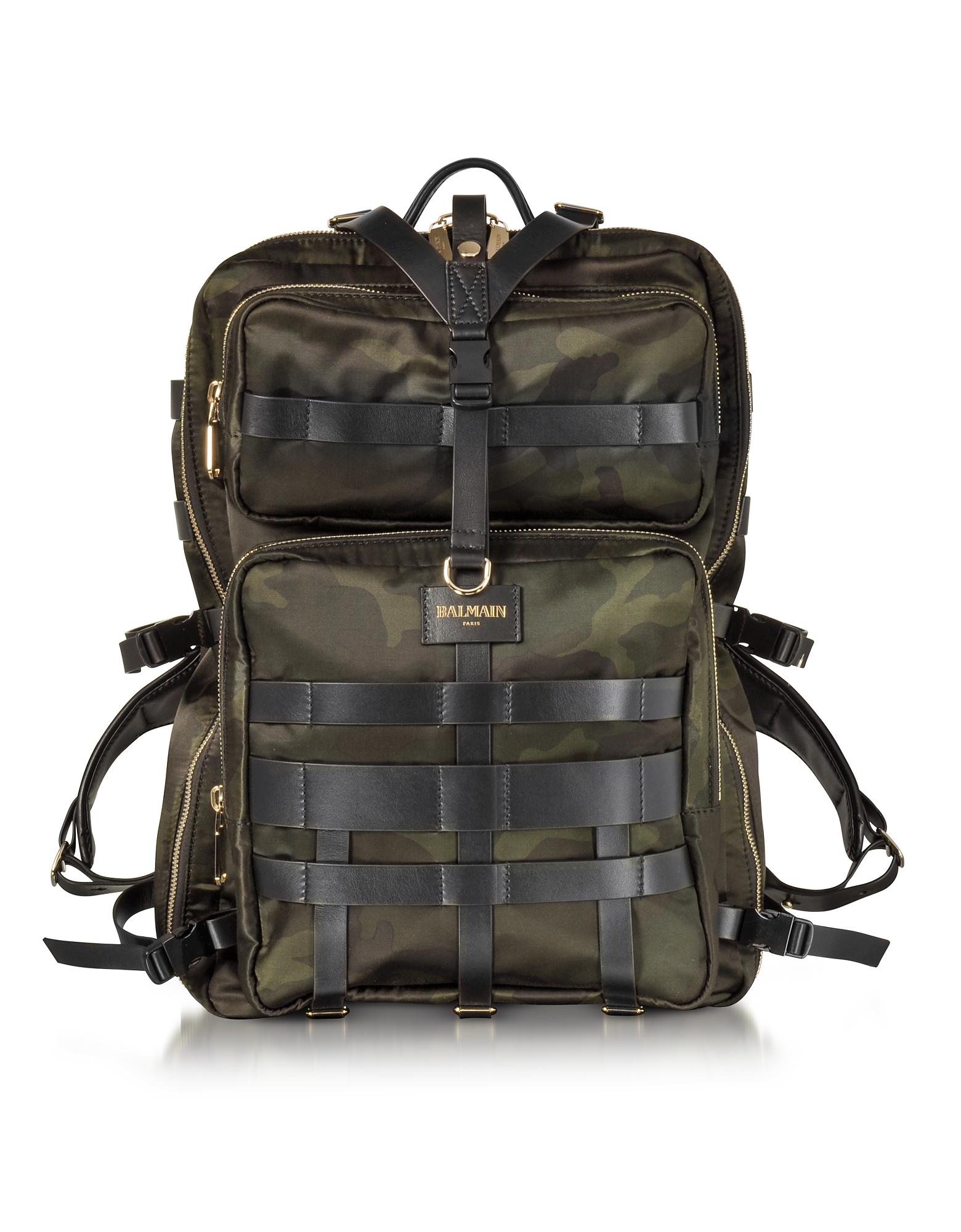 Зеленый Мужской Рюкзак из Ткани Камуфляж и Кожи