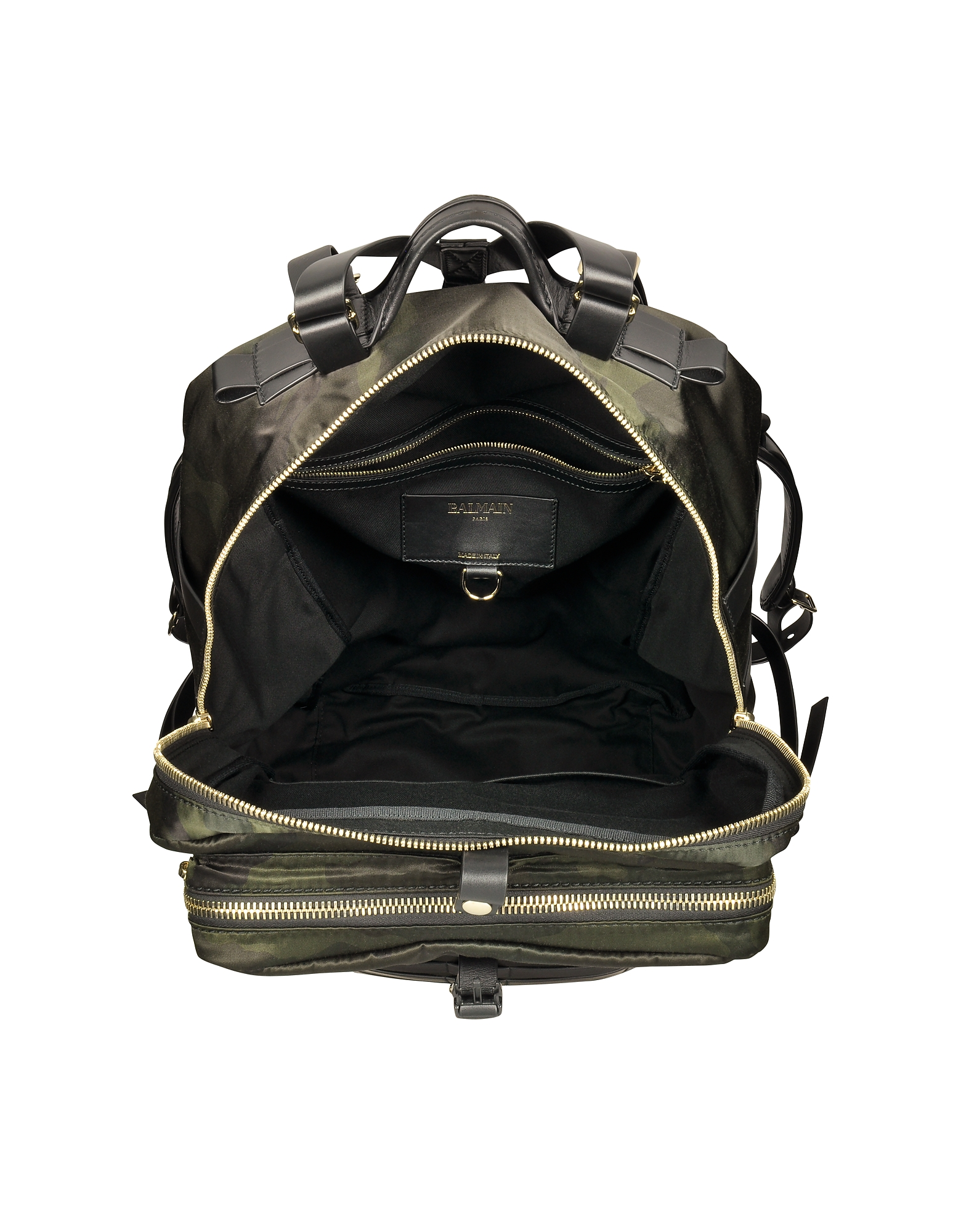 Military Green Camouflage Canvas and Leather Men's Backpack от Forzieri.com INT