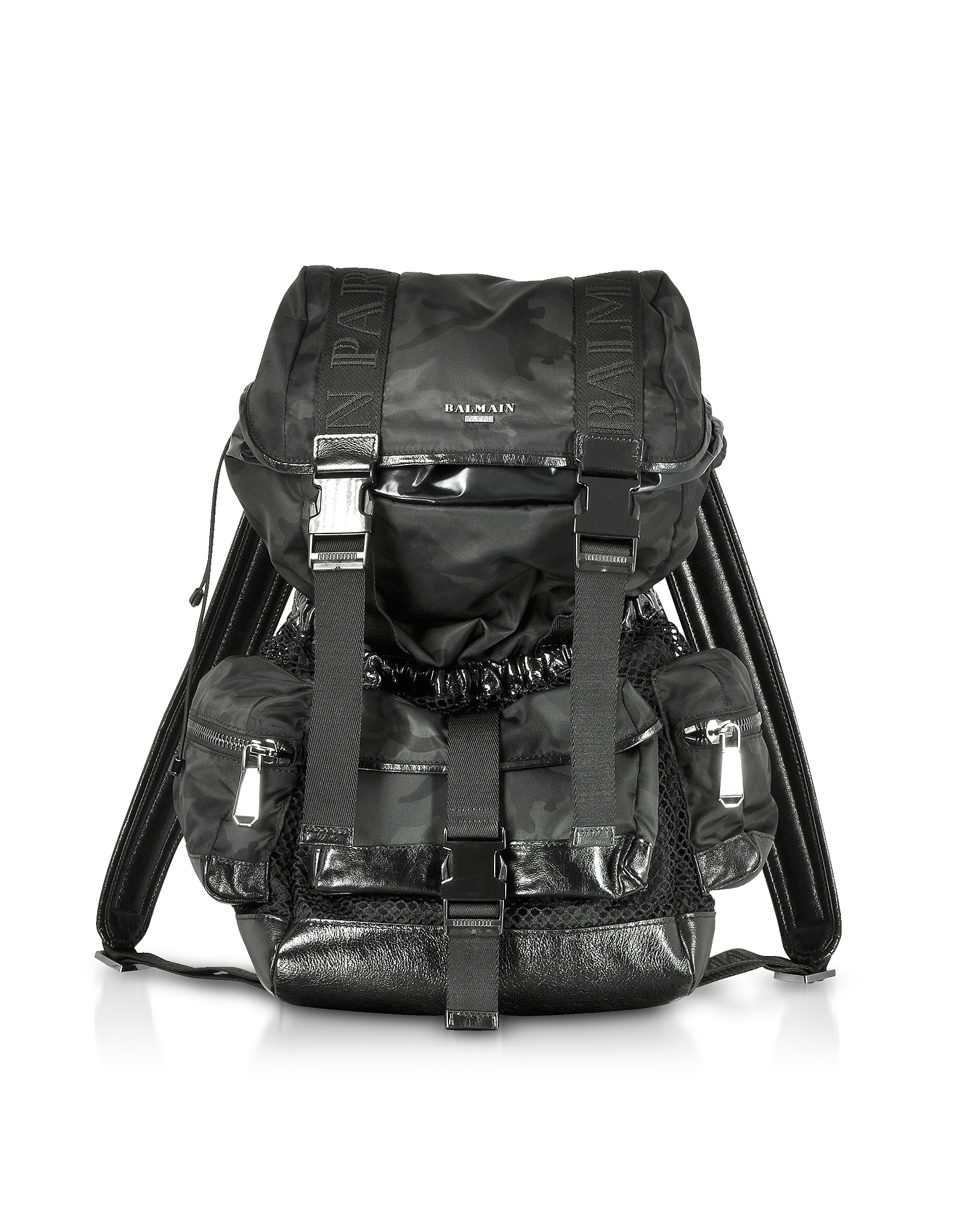 Image of Balmain Designer Backpacks, Black Camouflage Nylon and Leather Elite Backpack
