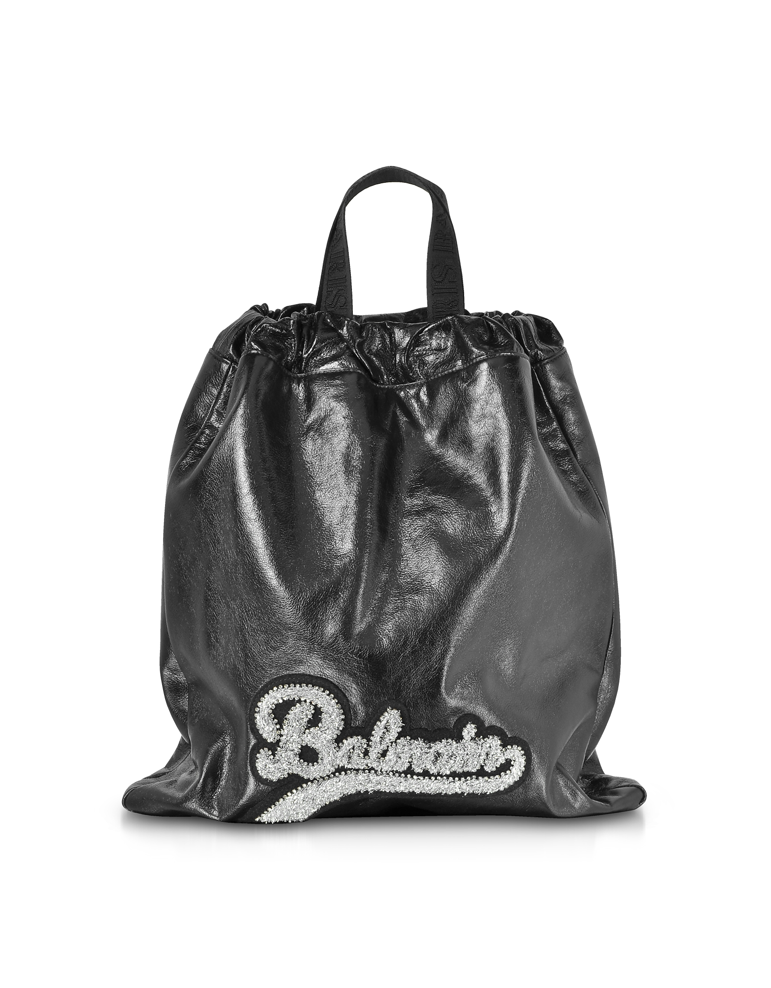 Image of Balmain Designer Backpacks, Black Leather Blink Backpack