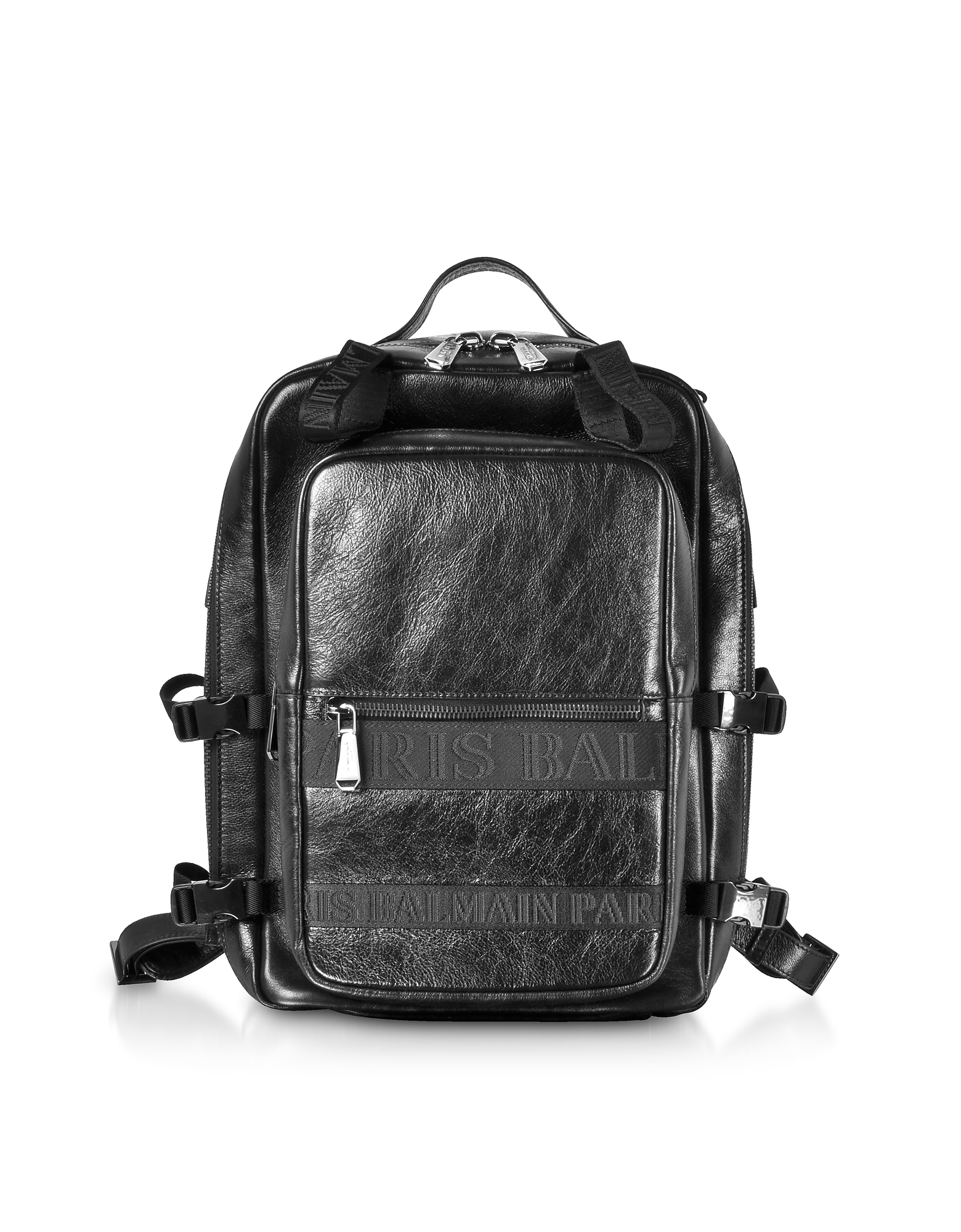Image of Balmain Designer Backpacks, Black Finn Shiny and Distressed Leather Men's Backpack