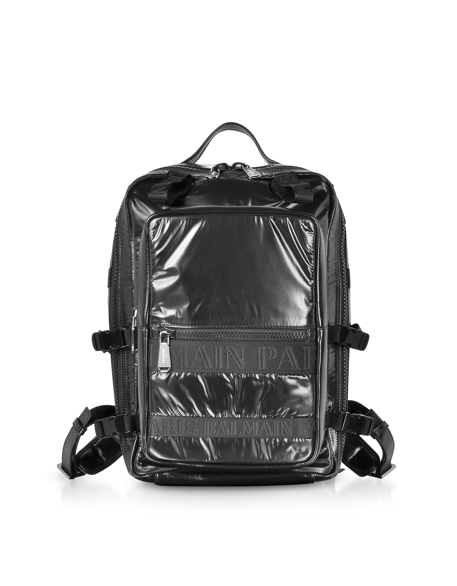 Image of Balmain Designer Backpacks, Black Quilted Nylon and Shiny Leather Men's Backpack