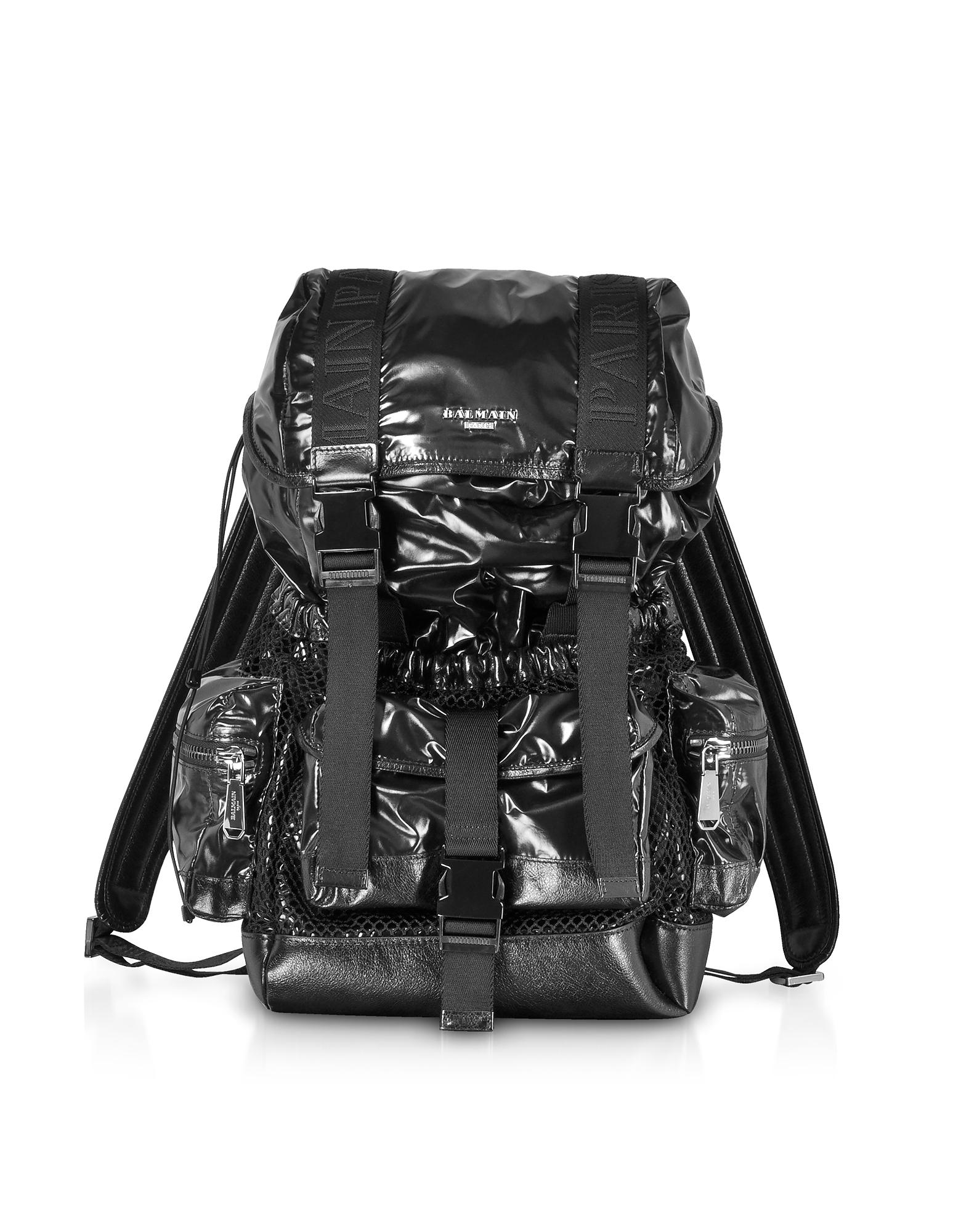 Image of Balmain Designer Backpacks, Black Shiny Nylon and Metallic Mesh Men's Backpack
