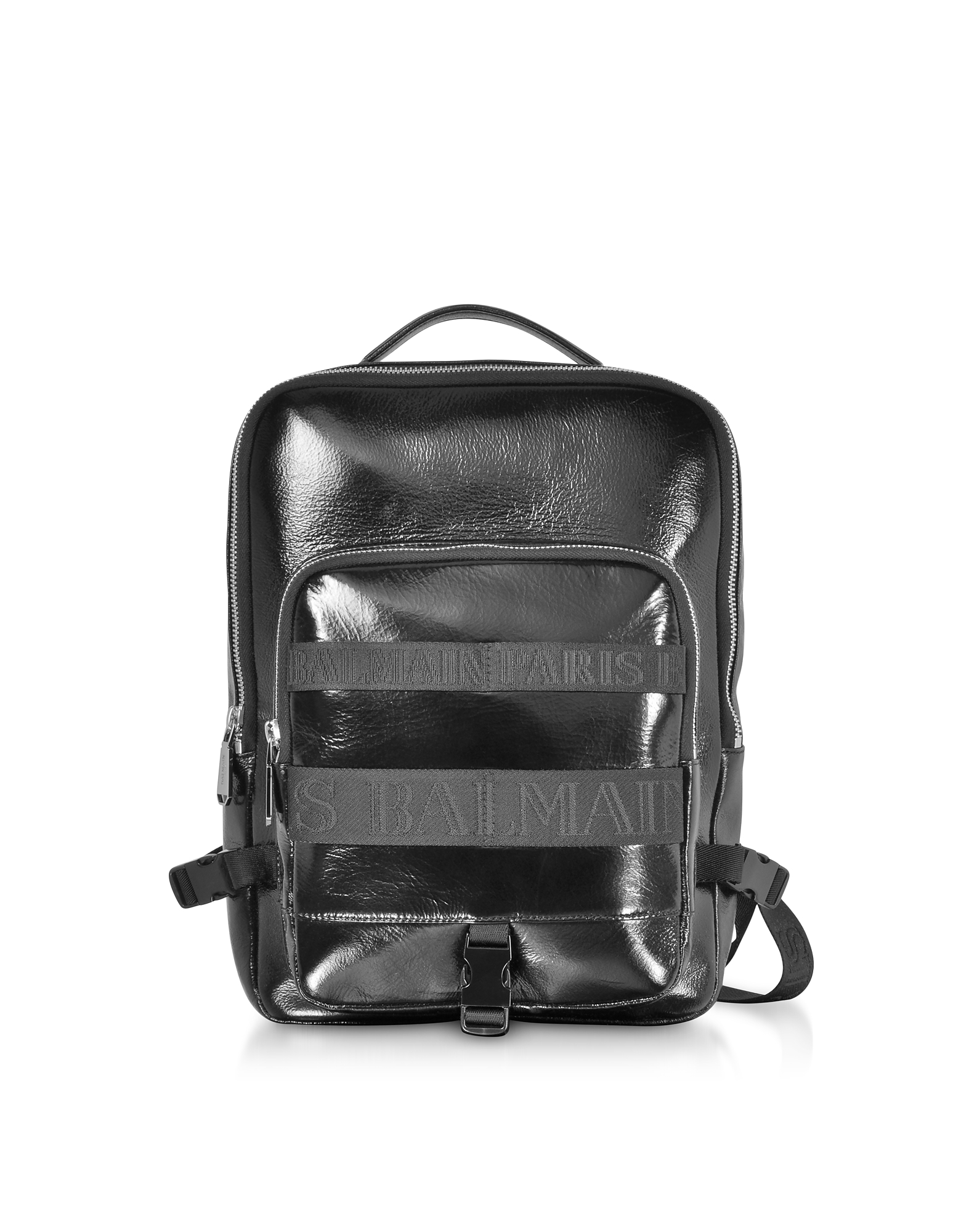 Image of Balmain Designer Backpacks, Black Leather Men's Crossbody/Backpack