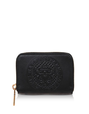 Signature Black Leather Coin Purse (bn160119-004-00 Balmain) photo