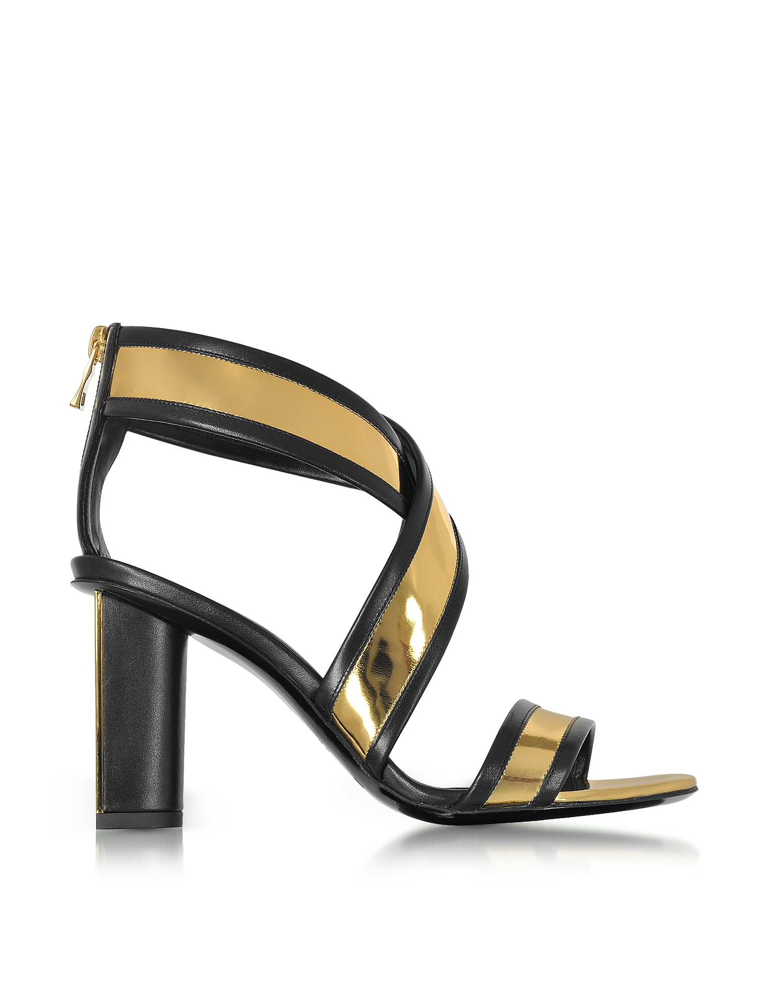 Balmain Shoes, Aska Black and Gold Metallic Leather Heel Sandal
