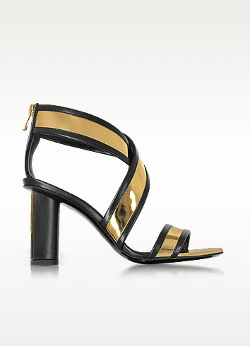 Aska Black and Gold Metallic Leather Heel Sandal - Balmain