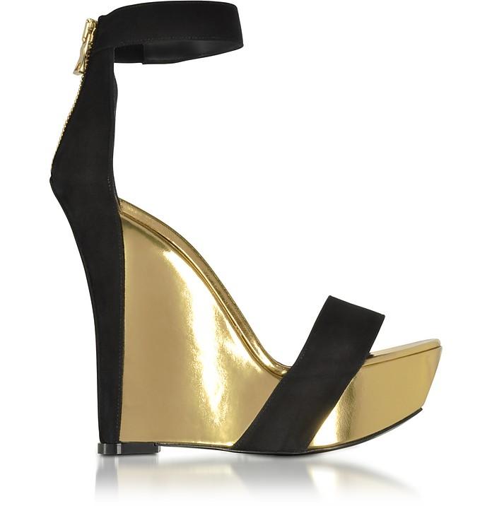 Samara Black Suede and Gold Metallic Leather Wedge Sandal - Balmain