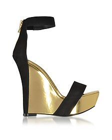 Samara Black Suede and Gold Metallic Leather Wedge Sandal - Balmain