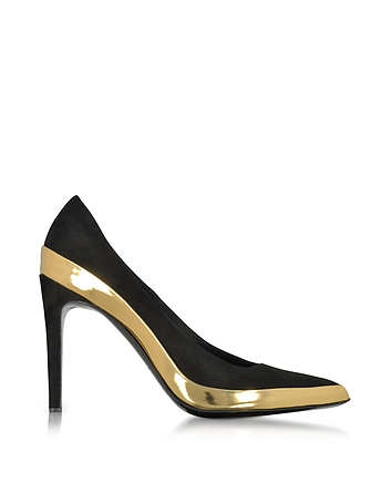 Balmain - Sasha Black Suede and Gold Metallic Leather High Heel Pump