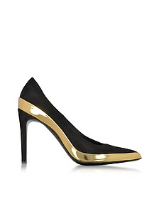 Sasha Black Suede and Gold Metallic Leather High Heel Pump - Balmain