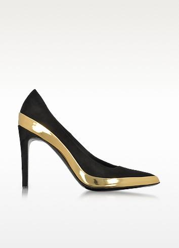 Sasha Black Suede and Gold Metallic Leather High Heel Pump - Balmain