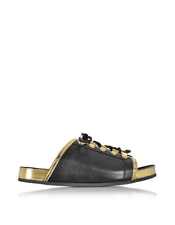 Balmain - Tao Black and Gold Metallic Leather Flat Slide