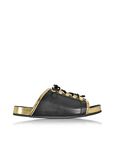 Tao Black and Gold Metallic Leather Flat Slide - Balmain