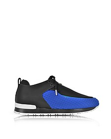 Doda Black Leather and Blue Quilted Neoprene Sneaker - Balmain