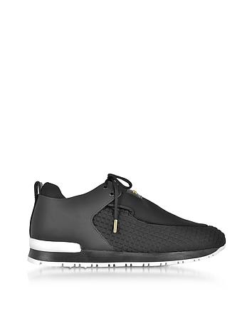 Balmain - Doda Black Leather and Quilted Neoprene Sneaker