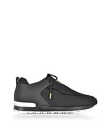 Doda - Sneakers Basses Femme en Néoprène Matelassé et Cuir Noir - Balmain