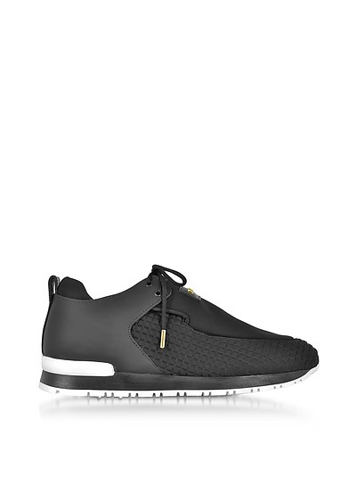 Doda Black Leather and Quilted Neoprene Sneaker - Balmain