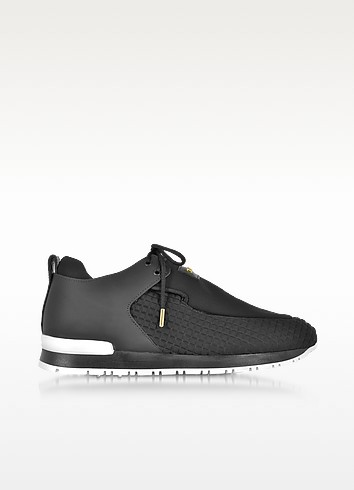 Doda Black Leather and Quilted Neoprene Sneaker - Balmain