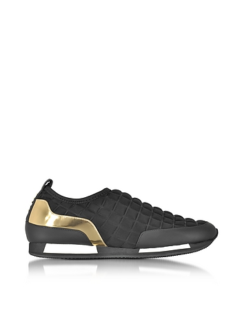 Balmain - Maya Black Quilted Neoprene and Gold Metallic Leather Sneaker