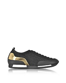 Maya Black Quilted Neoprene and Gold Metallic Leather Sneaker - Balmain