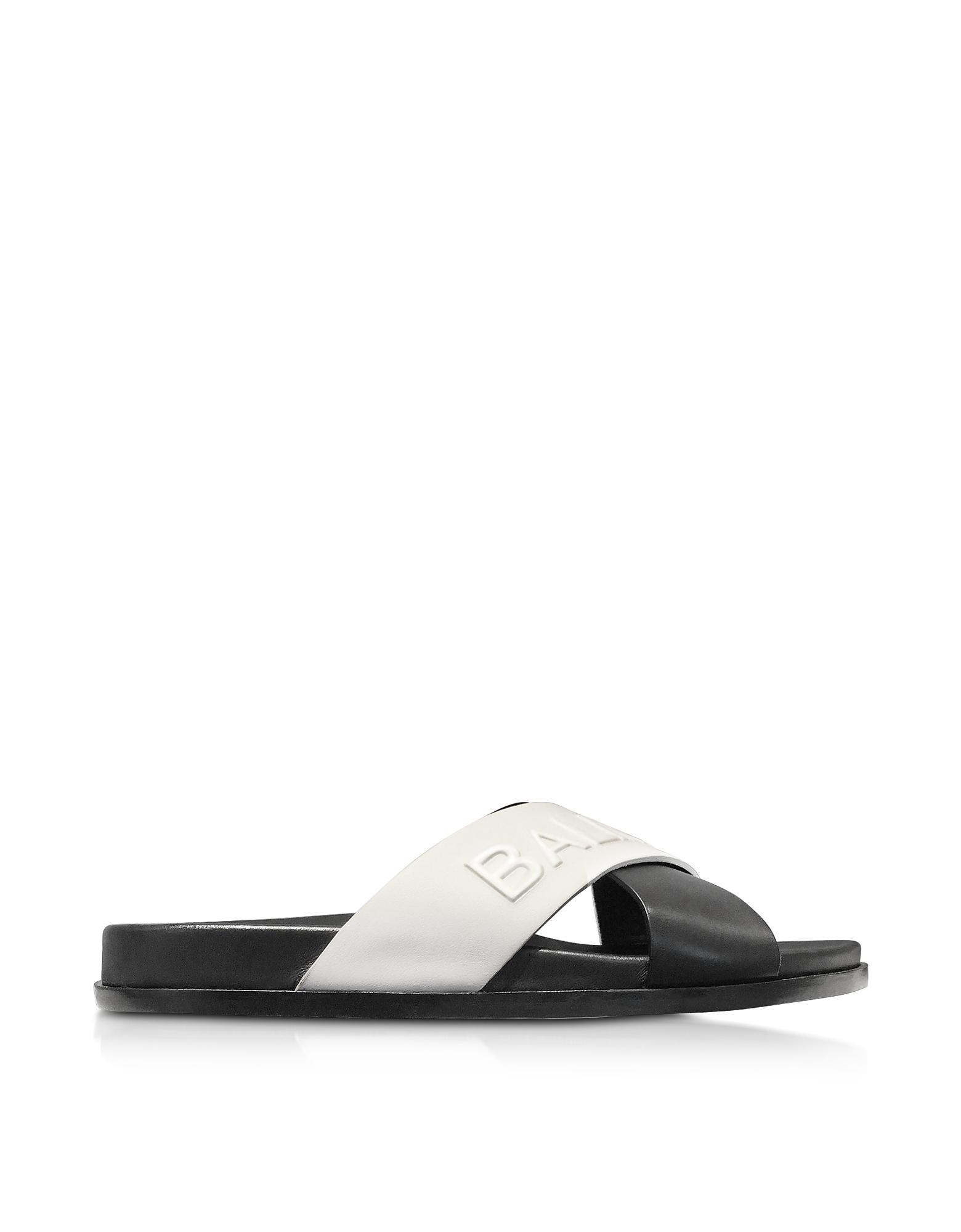 Balmain Shoes, Black & White Leather Criss Cross Women's Slide Sandals