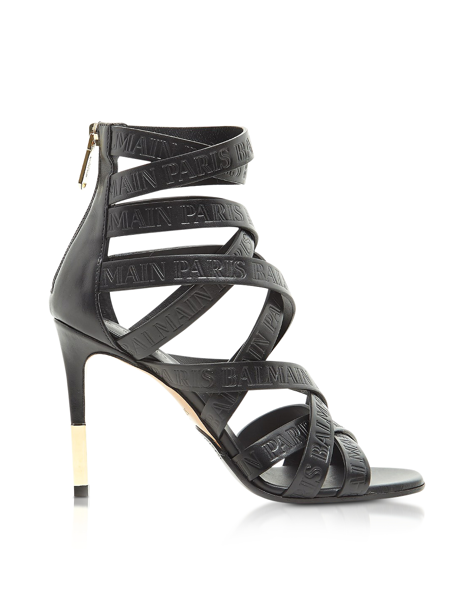 Balmain Shoes, Charlotte Black Embossed Leather High Heel Sandals
