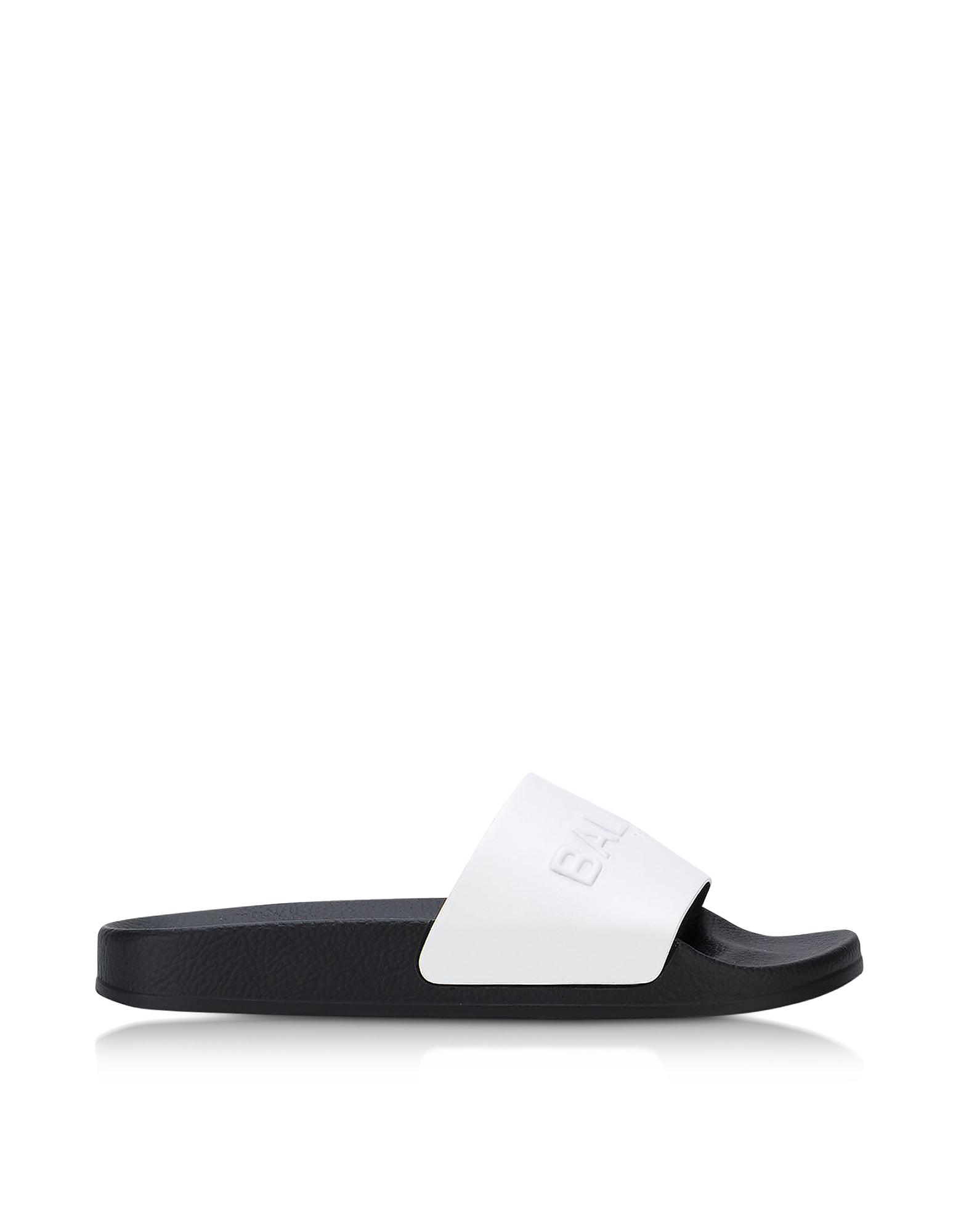 Balmain Shoes, White Leather Calypso Women's Slide Sandals