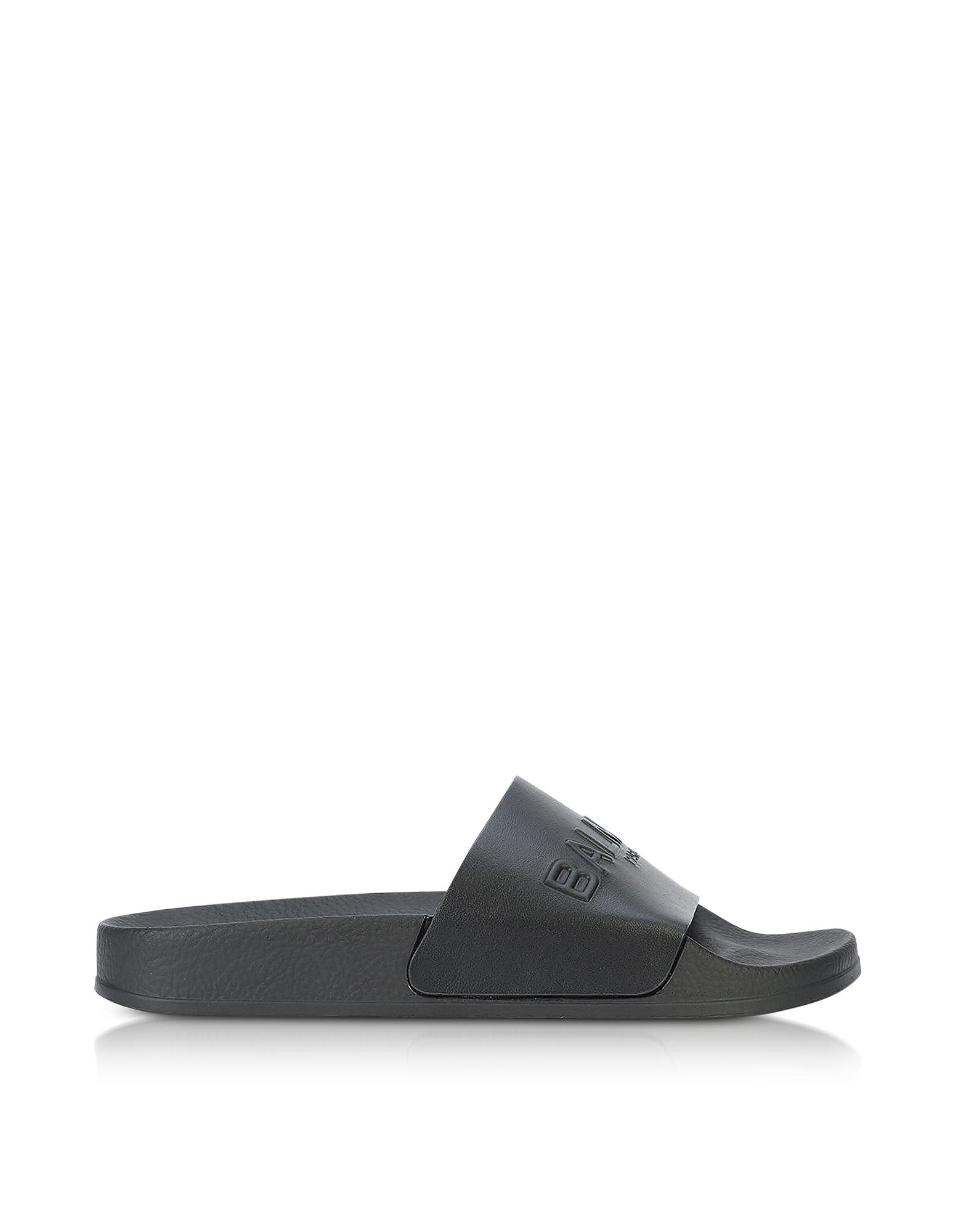 Balmain Shoes, Black Leather Calypso Women's Slide Sandals
