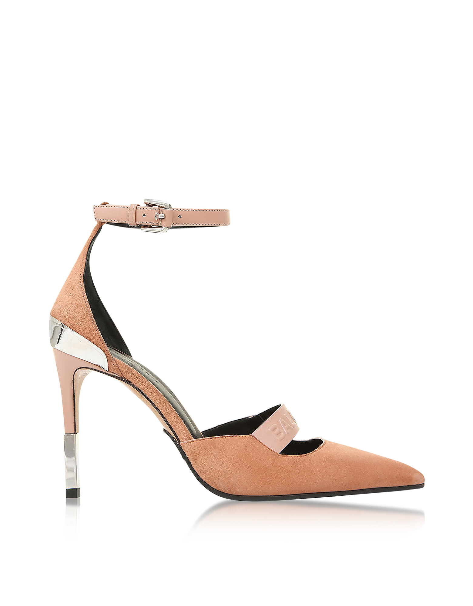 Balmain Shoes, Powder Pink Suede Ankle Wrap Chance Pumps