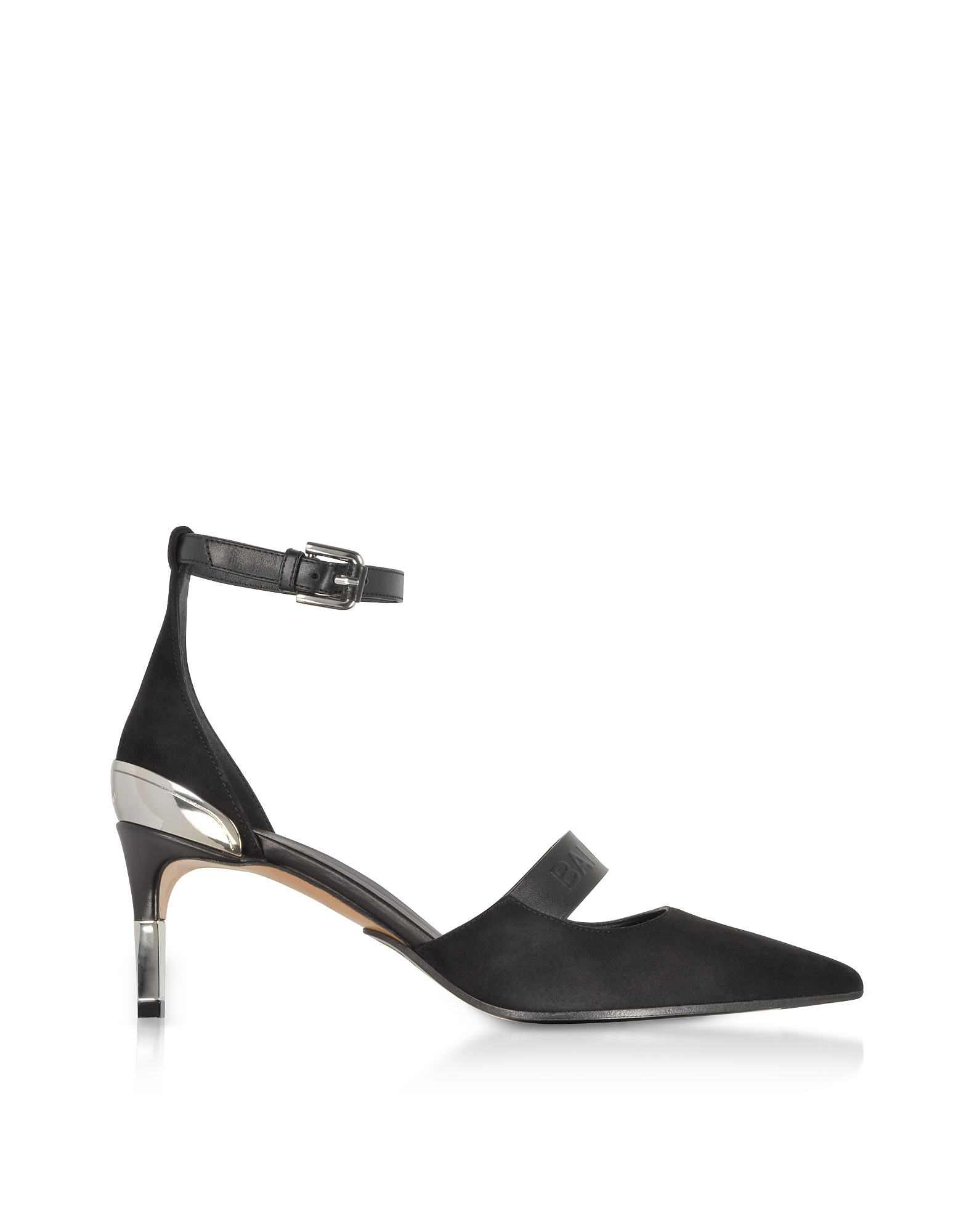 Balmain Shoes, Black Suede Mid-Heel Chance Pumps