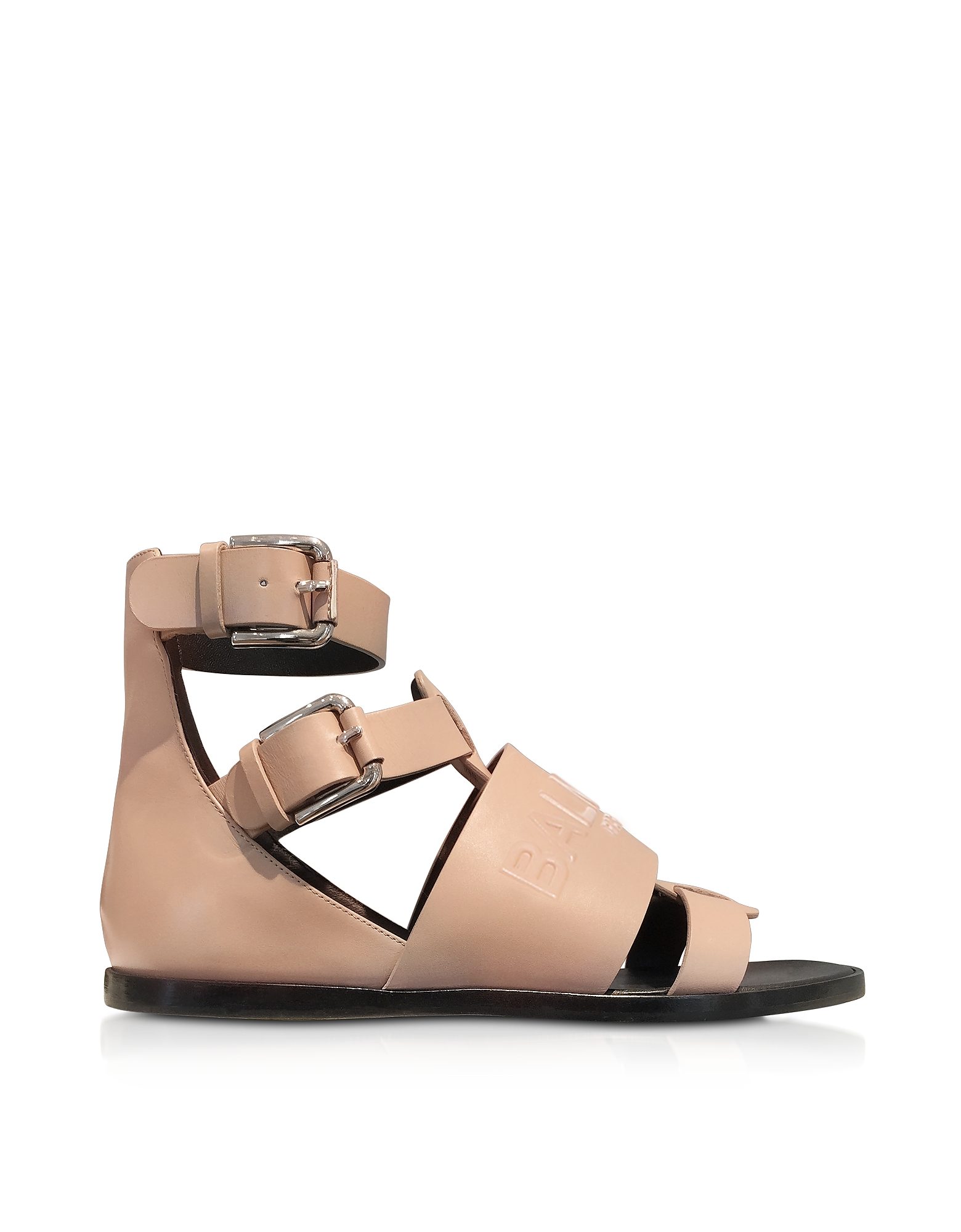 Balmain Shoes, Powder Pink Leather Clothilde Flat Sandals
