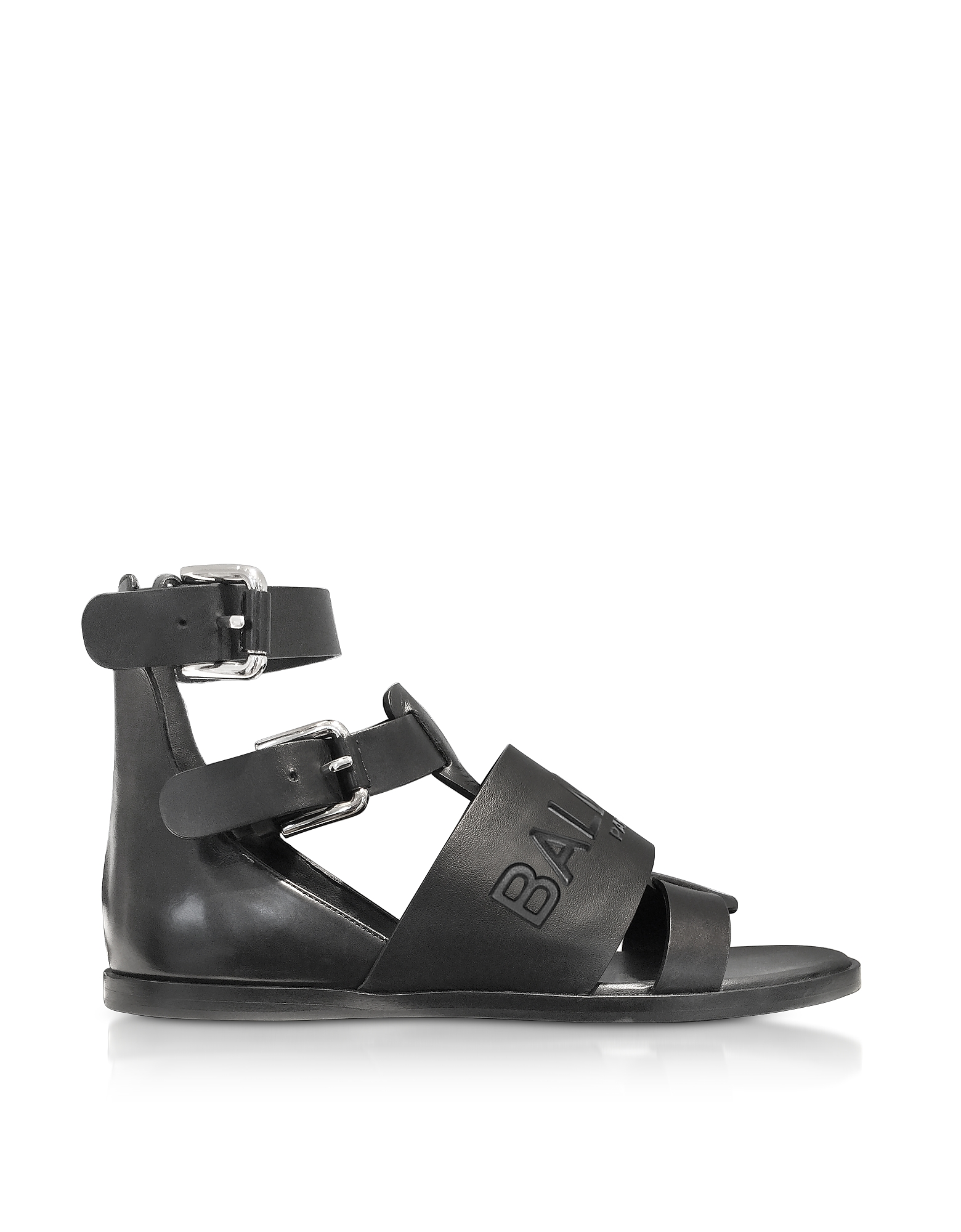Balmain Shoes, Black Leather Clothilde Flat Sandals