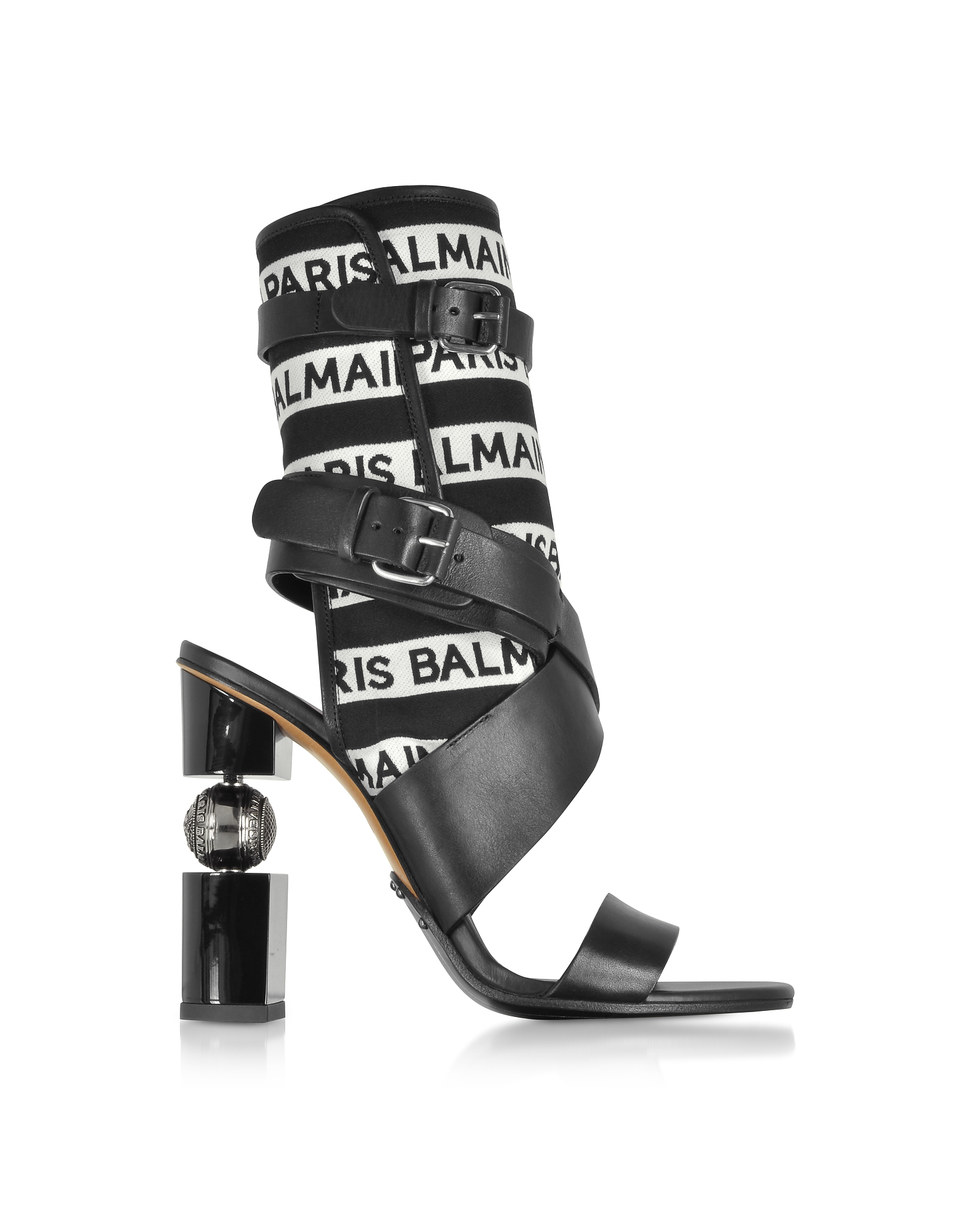 Balmain Designer Shoes, Jaclyn Black and White Signature Open Toe Boots