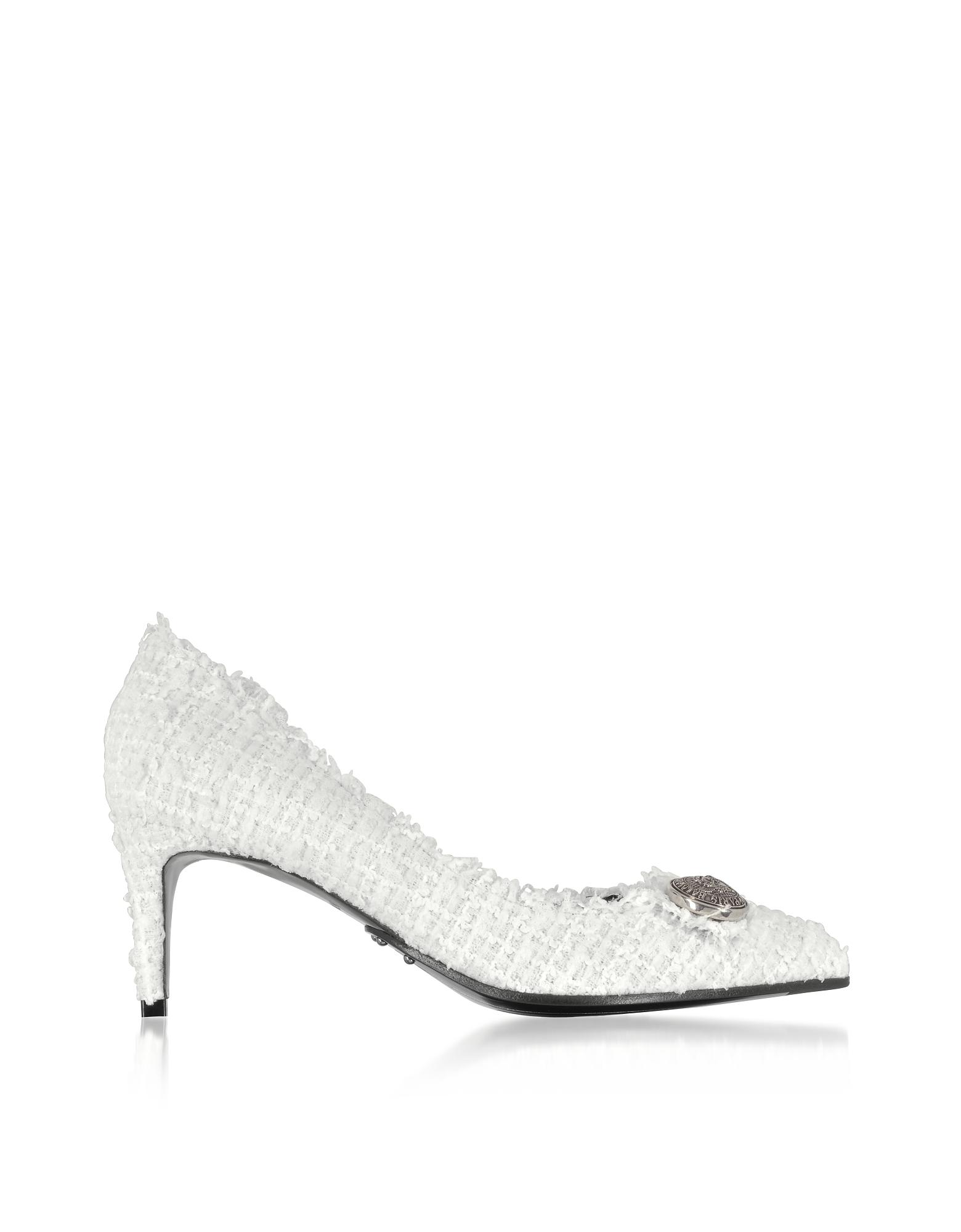 Balmain Designer Shoes, White Tweed 65MM Julie Pump