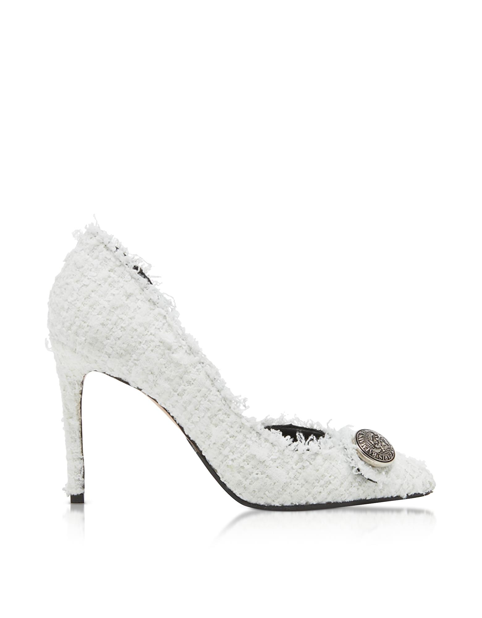 White Tweed 95MM Julie Pump