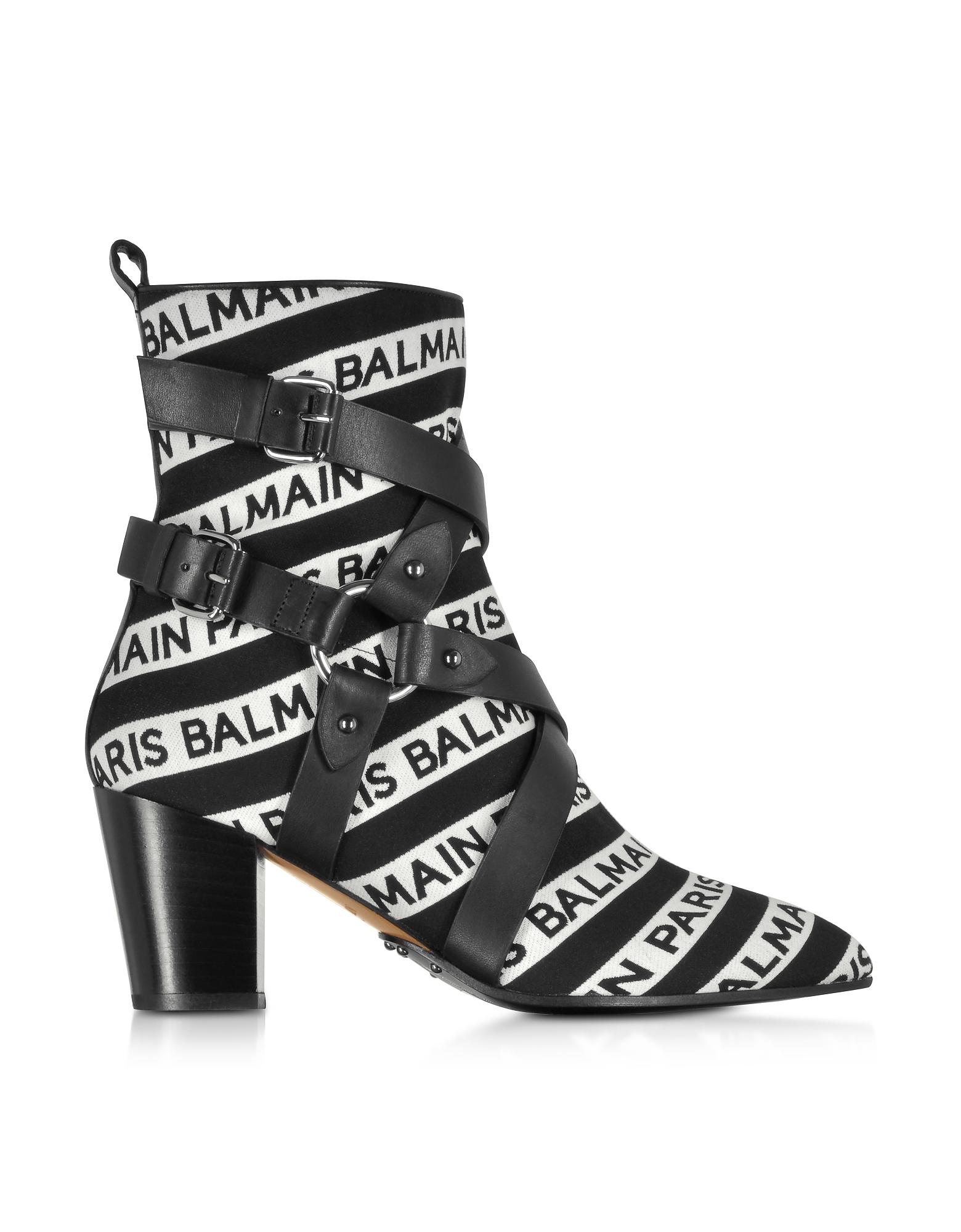 Balmain Designer Shoes, Stripe Signature Logo Jilly Boots