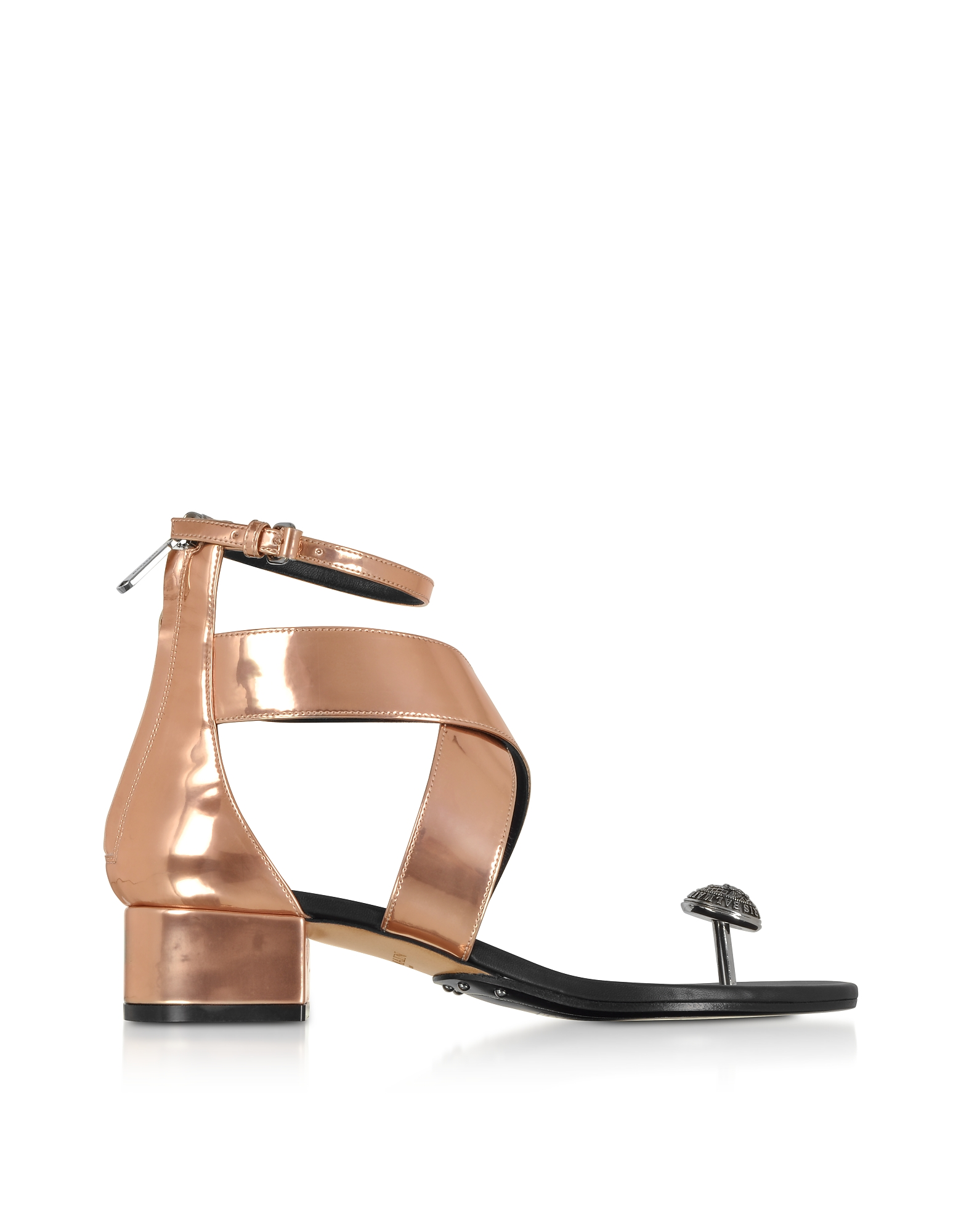 Balmain Designer Shoes, Rose Gold Laminated Leather Juliet Flat Sandals