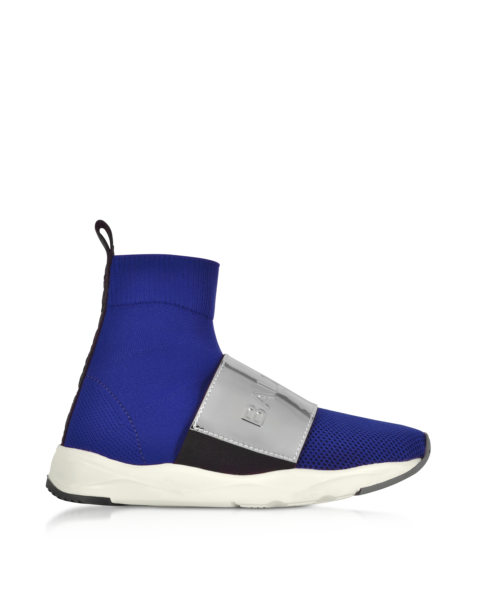 Balmain Designer Shoes, Cobalt Blue & Silver Cameron Knit Sock Sneakers