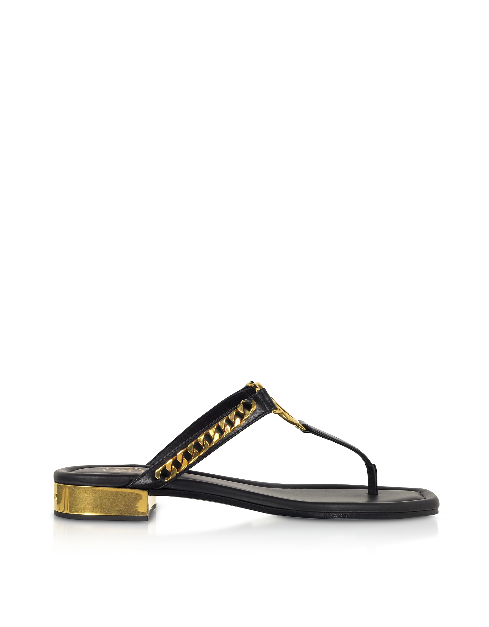 Balmain Designer Shoes, Black Leather T-Bar Flat Sandals