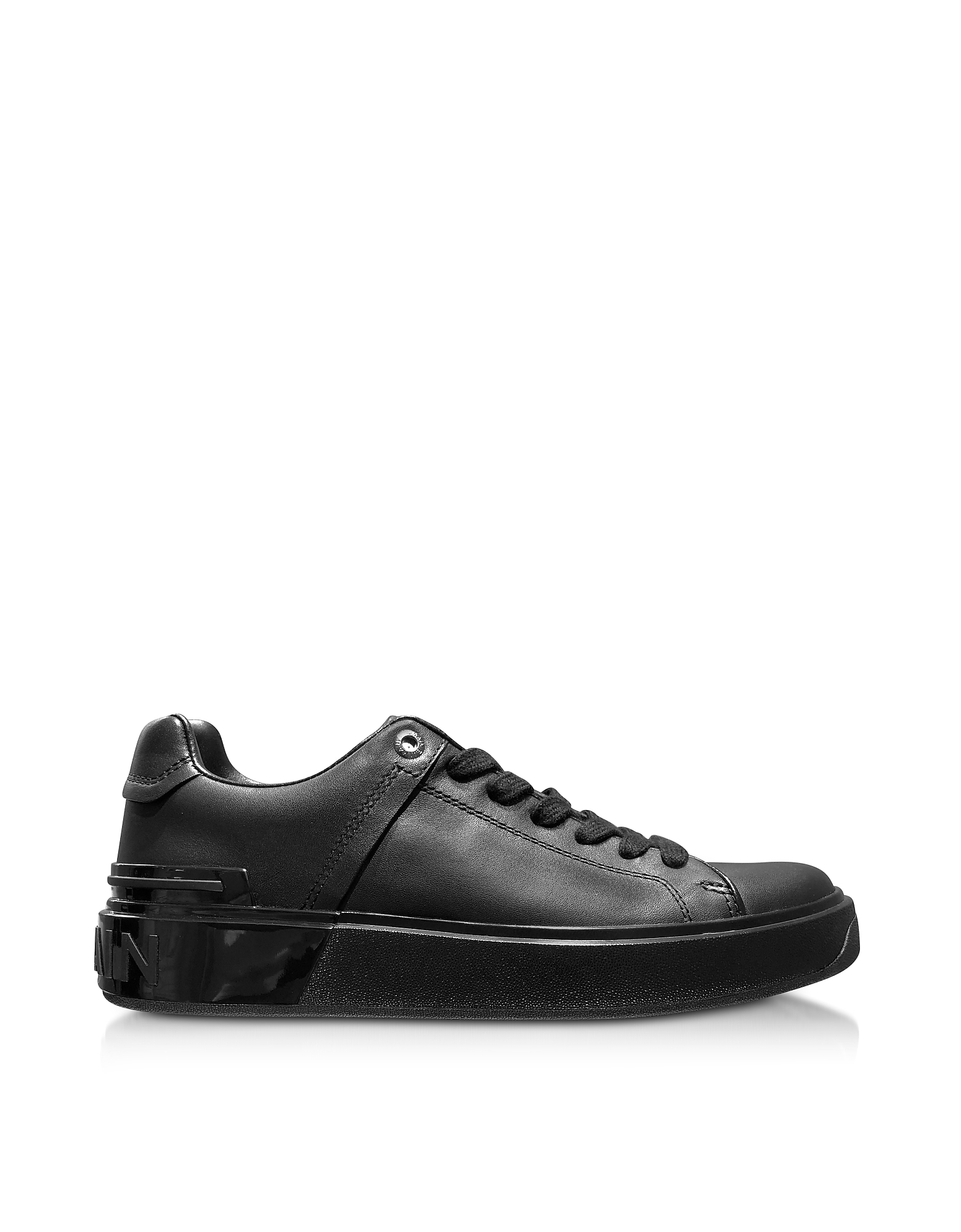 Black Leather Lace up Women's Sneakers