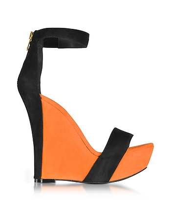 Balmain - Samara Orange and Black Suede Wedge Sandals