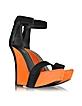 Samara Orange and Black Suede Wedge Sandals - Balmain
