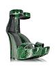 Samara Green Python Wedge Sandals - Balmain