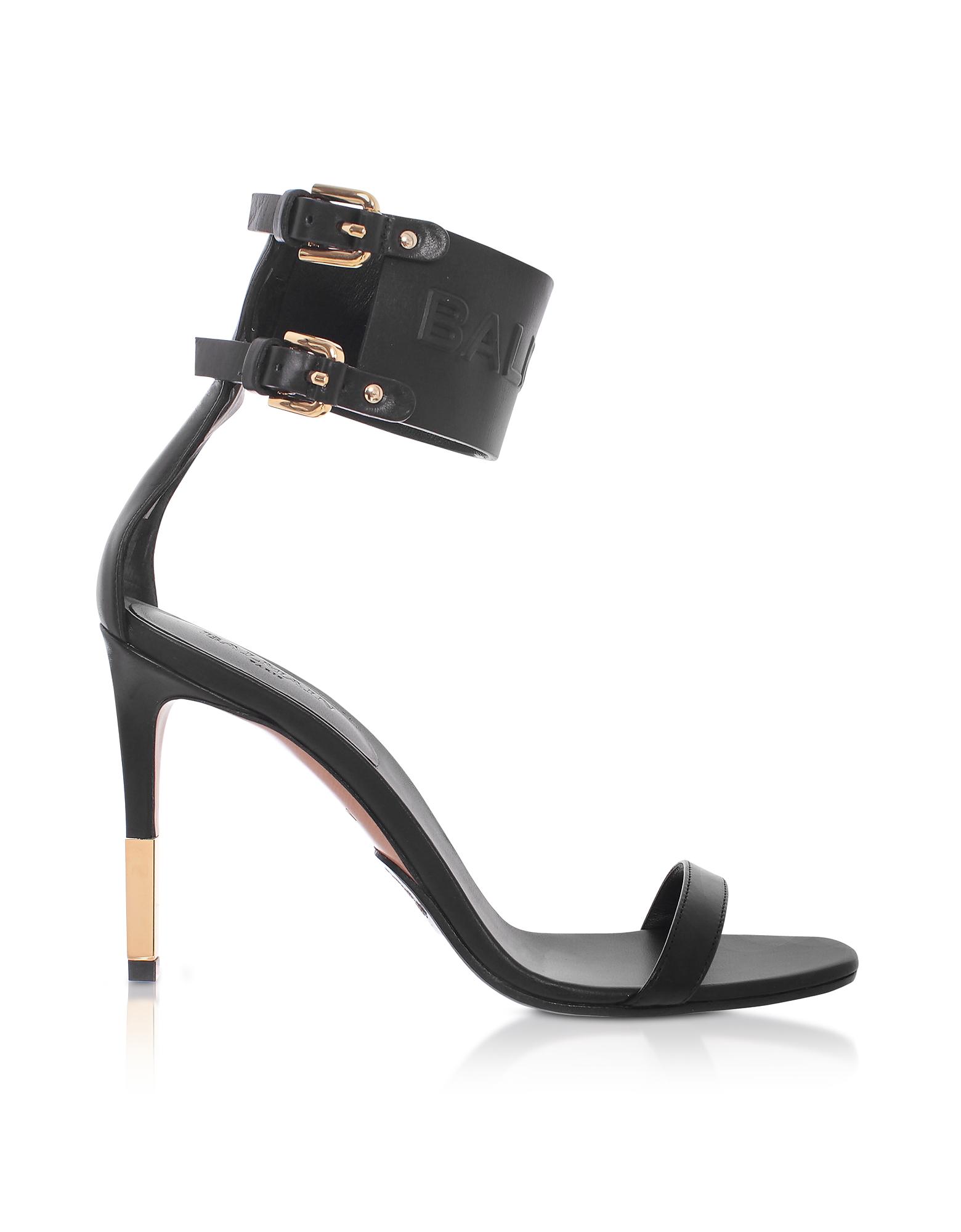Balmain Shoes, Black Leather Dune Sandals