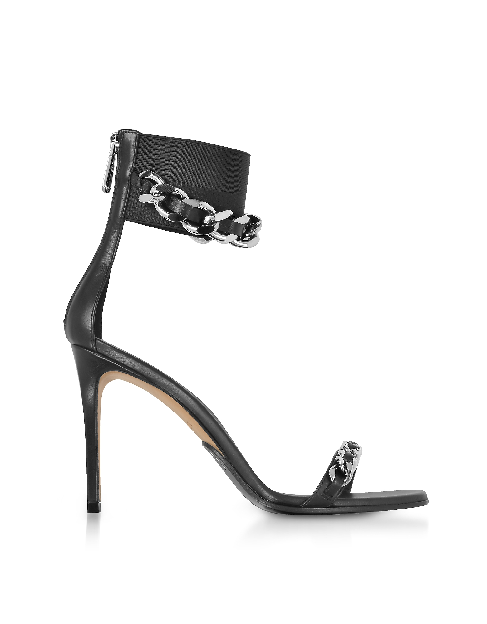 Balmain Shoes, Black Leather Duo Chain Sandals