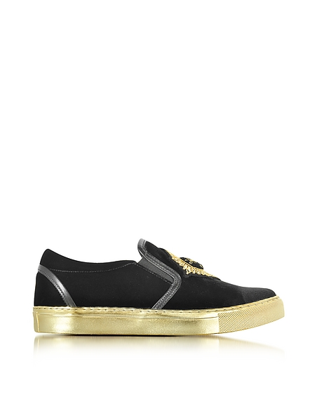 Foto Balmain Queen Sneaker Slip on in Velluto Nero/Oro Scarpe