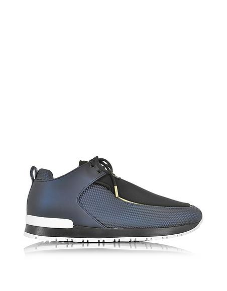 Foto Balmain Doda Sneakers in Pelle e Tessuto Tech Nero/Navy Blu Scarpe