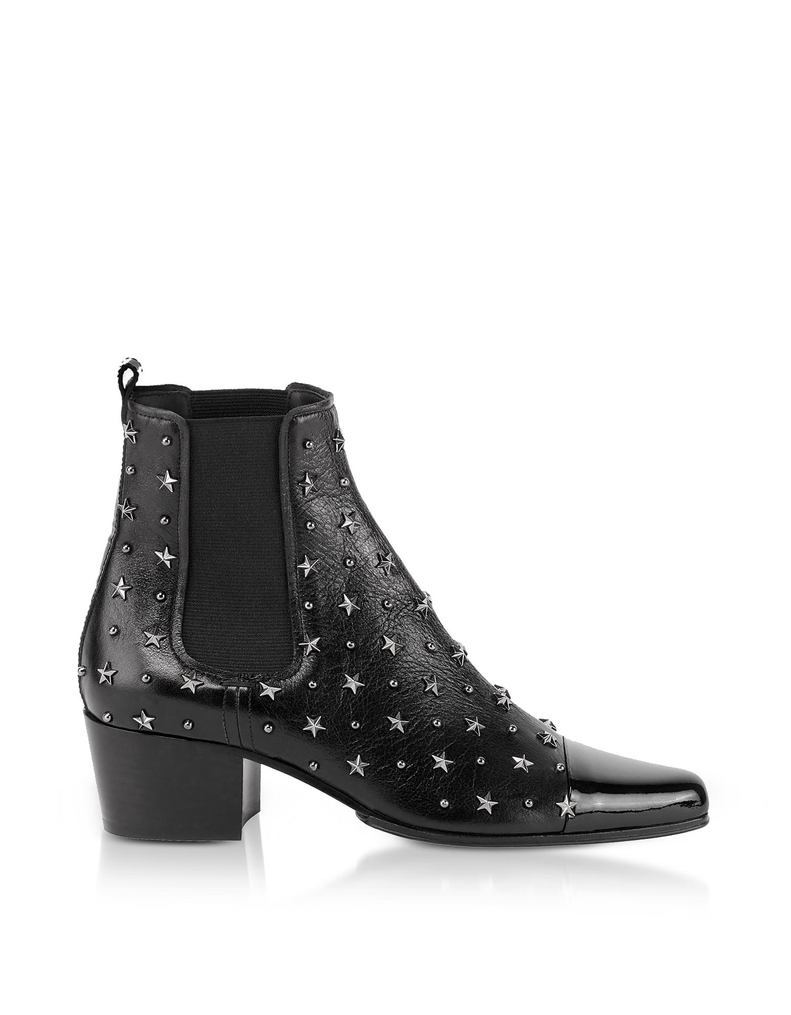 Balmain Shoes, Black Studded Patent Leather Arthemisia Etoiles Boots